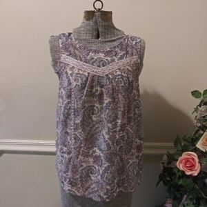 NWOT Lucky Brand Lavender & Navy Paisley Blouse